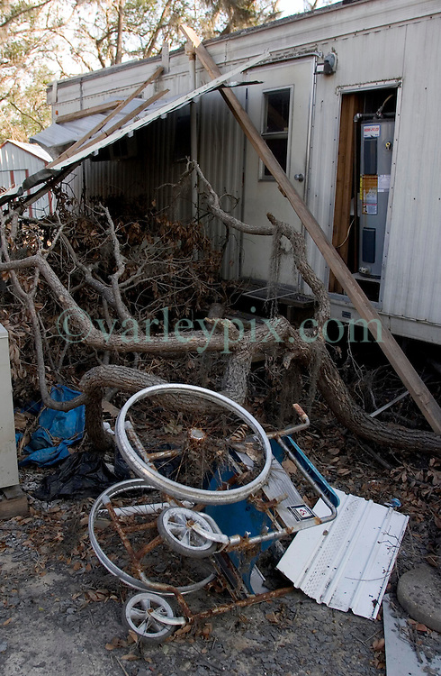 03, November, 2005. New Orleans, Louisiana. Post Katrina.<br /> The remains of debris strewn Oak Grove trailer park in Saint Bernard parish just south of New Orleans. The elderly and infirm were particularly hard hit. Hurricane Katrina caused a 20ft tidal surge to sweep over the land, devastating much of the parish.<br /> Photo; ©Charlie Varley/varleypix.com