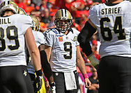 KANSAS CITY, MO - OCTOBER 23:  Quarterback Drew Brees #9 of the New Orleans Saints looks on against the Kansas City Chiefs during the first half on October 23, 2016 at Arrowhead Stadium in Kansas City, Missouri.  (Photo by Peter G. Aiken/Getty Images) *** Local Caption *** Drew Brees