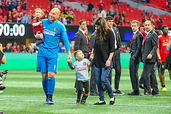 October 21, 2018 - Atlanta, GA, U.S. - ATLANTA, GA - OCTOBER 21: Atlanta United goalkeeper Brad Guzan (1) celebrating after the MLS game between the Atlanta United and the Chicago Fire on October 21, 2018 at the Mercedes-Benz Stadium in Atlanta, GA. Atlanta United FC secured a place in next year's CONCACAF Champions League with a 2-1 victory against the visiting Chicago Fire. (Photo by John Adams/Icon Sportswire) (Credit Image: © John Adams/Icon SMI via ZUMA Press)
