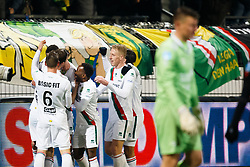 (L-R) Bjorn Johnsen of ADO Den Haag, Lex Immers of ADO Den Haag, Elson Hooi of ADO Den Haag, Thijmen Goppel of ADO Den Haag, Danny Bakker of ADO Den Haag, goalkeeper Theo Zwarthoed of Excelsior during the Dutch Eredivisie match between sbv Excelsior Rotterdam and ADO Den Haag at Van Donge & De Roo stadium on March 16, 2018 in Rotterdam, The Netherlands