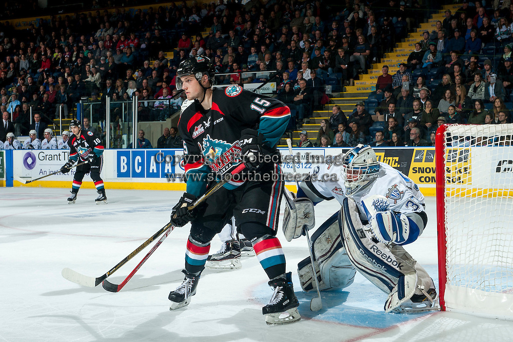 KELOWNA, CANADA - OCTOBER 26: Tomas Soustal #15 of the Kelowna Rockets looks for the pass in front of Dylan Myskiw #33 of the Victoria Royals on October 26, 2016 at Prospera Place in Kelowna, British Columbia, Canada.  (Photo by Marissa Baecker/Shoot the Breeze)  *** Local Caption ***
