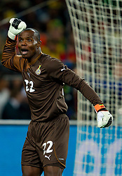 Goalkeeper of Ghana Richard Kingson  during to the 2010 FIFA World Cup South Africa Quarter Finals football match between Uruguay and Ghana on July 02, 2010 at Soccer City Stadium in Sowetto, suburb of Johannesburg. (Photo by Vid Ponikvar / Sportida)