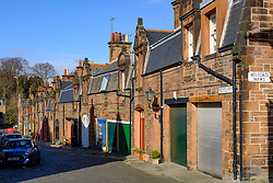 View of Mews houses on narrow street at Bedford Mews in Edinburgh, Scotland, UK