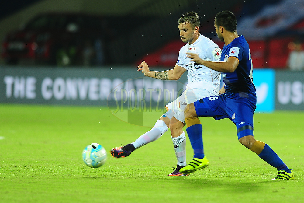 Nicolas Velez of NorthEast United FC during match 7 of the Indian Super League (ISL) season 3 between Mumbai City FC and NorthEast United FC held at the Mumbai Football Arena in Mumbai, India on the 7th October 2016.<br /> <br /> Photo by Faheem Hussain / ISL/ SPORTZPICS