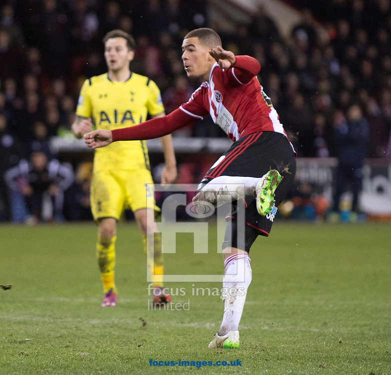 Che Adams of Sheffield United scores his team's 2nd goal to make it 2-1 during the Capital One Cup match at Bramall Lane, Sheffield<br /> Picture by Russell Hart/Focus Images Ltd 07791 688 420<br /> 28/01/2015