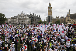 © Licensed to London News Pictures. 06/09/2017. London, UK. Nurses hold a demonstration in Parliament Square.  The Royal College of Nursing is campaigning against the Government's 1 per cent cap on public sector pay. Photo credit: Peter Macdiarmid/LNP