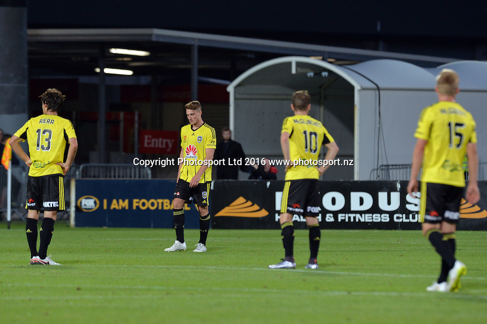 The Phoenix team reacting during the round 17 A-League match between the Wellington Phoenix and the Central Coast Mariners at AMI Stadium in Christchurch, New Zealand. 30 January 2016. Photo: Kai Schwoerer / www.photosport.nz