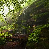 Kopren Waterfalls in a rainy spring day