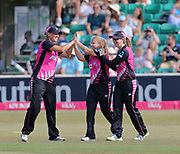 Leigh Kasaperek (centre) celebrates catching Dani Wyatt during the international T20 Final between England Women and the White Ferns at the County Ground, Chelmsford. Photo: Graham Morris/www.photosport.nz 01/07/18
