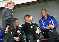 15-07-2008 VOETBAL:CSKA SOFIA - WILLEM II:TILBURG<br /> De staf die Willem II in de eredivisie moet gaan houden, Andries Jonker, Marcel Valk, Alphons Groenendijk en doelman Maikel Aerts<br /> Foto: Geert van Erven