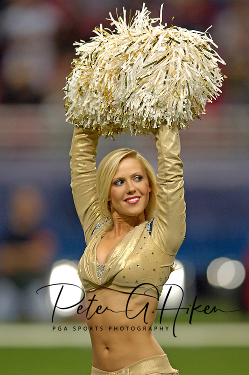 St. Louis Rams Cheerleader Kate, preforms during the game against Seattle at the Edward Jones Dome in St. Louis, Missouri, October 9, 2005.