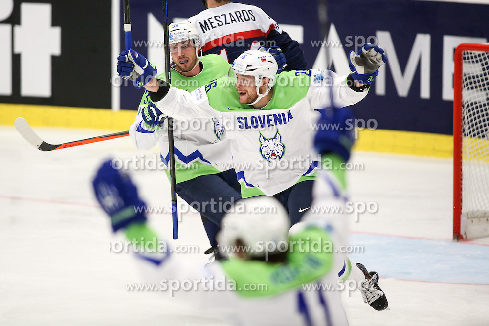 Jan Mursak of Slovenia, Jan Urbas of Slovenia and Anze Kopitar of Slovenia celebrate  after Slovenia scoring first goal against Jan Laco of Slovakia during Ice Hockey match between Slovakia and Slovenia at Day 5 in Group B of 2015 IIHF World Championship, on May 5, 2015 in CEZ Arena, Ostrava, Czech Republic. Photo by Vid Ponikvar / Sportida