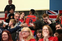 Panos Mayindombe of Bristol Flyers thanking the supporters at the end of the match - Photo mandatory by-line: Arron Gent/JMP - 28/04/2019 - BASKETBALL - Surrey Sports Park - Guildford, England - Surrey Scorchers v Bristol Flyers - British Basketball League Championship
