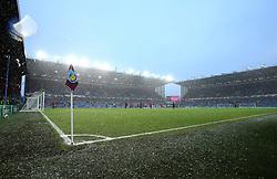 Snow falls at Turf Moor ahead of Burnley v Watford in the Premier League - Mandatory by-line: Robbie Stephenson/JMP - 09/12/2017 - FOOTBALL - Turf Moor - Burnley, England - Burnley v Watford - Premier League