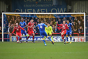 AFC Wimbledon midfielder Dannie Bulman (4) with shot on goal during the EFL Sky Bet League 1 match between AFC Wimbledon and Walsall at the Cherry Red Records Stadium, Kingston, England on 25 February 2017. Photo by Matthew Redman.