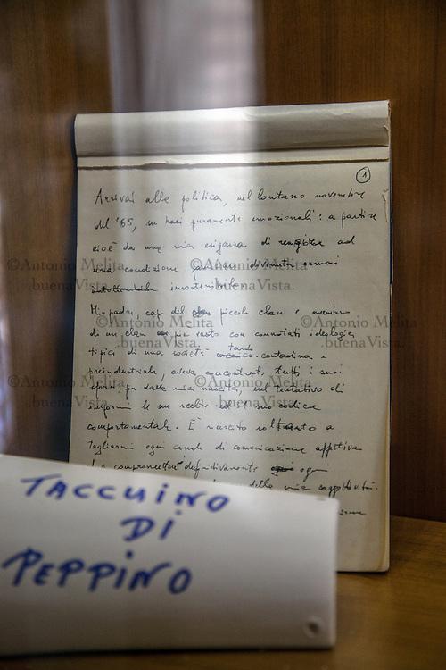 Il taccuino di Peppino Impastato conservato nella casa di Cinisi (Pa).