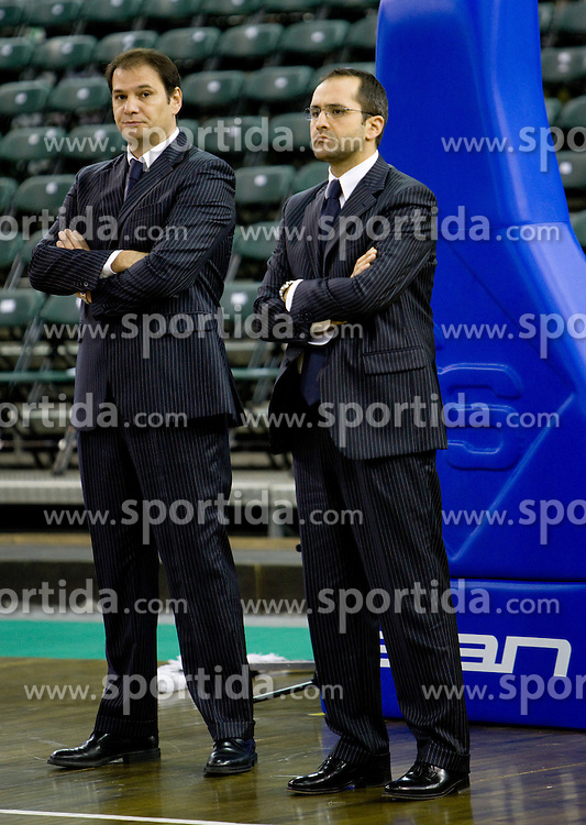 Head coach of Lottomatica Ferdinando Gentile and his assistant Gennaro Di Carlo at warming up before the Euroleague basketball match in 5th Round of Group C between KK Union Olimpija and Virtus Lottomatica Roma, on November 25, 2009, in Arena Tivoli, Ljubljana, Slovenia. (Photo by Vid Ponikvar / Sportida)
