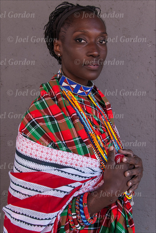 African American woman wearing traditional  crafted by hand Maassai clothing and bead work of Kenya and Tanzania