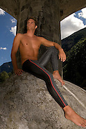 Olympian swimmer Dominik MEICHTRY of Switzerland poses during a photo session at the Verzasaca river in the Verzasca valley, Ticino, Switzerland, Saturday, Aug. 12, 2006. (Photo by Patrick B. Kraemer / MAGICPBK)