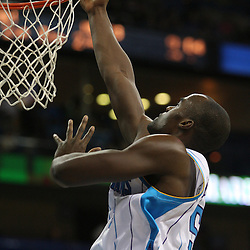 Jan 02, 2010; New Orleans, LA, USA; New Orleans Hornets center Emeka Okafor (50) shoots against the Houston Rockets during the fourth quarter at the New Orleans Arena. Mandatory Credit: Derick E. Hingle-US PRESSWIRE