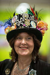 © Licensed to London News Pictures . 07/05/2015 . Doncaster , UK . A Monster Raving Looney supporter at the count . The count for the 2015 General Election in Labour Party leader Ed Miliband's constituency of Doncaster North , at Doncaster Racecourse . Photo credit : Joel Goodman/LNP