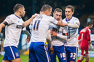 Danny Mayor of Bury (second from right) is mobbed by team mates after scoring his sides second goal during the FA Cup match at Gigg Lane, Bury<br /> Picture by Matt Wilkinson/Focus Images Ltd 07814 960751<br /> 07/11/2015