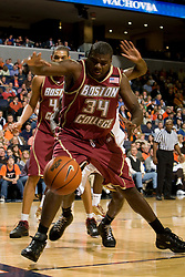 Boston College forward Shamari Spears (34) tries to save a loose ball.  The Virginia Cavaliers men's basketball team defeated the Boston College Golden Eagles 84-66 at the John Paul Jones Arena in Charlottesville, VA on January 19, 2008.