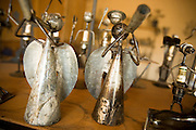 Statuettes from recycled metal at the Village Artisanal de Ouagadougou, a cooperative that employs dozens of artisans who work in different mediums, in Ouagadougou, Burkina Faso, on Monday November 3, 2008.