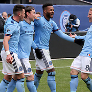 NEW YORK, NEW YORK - April 12: Thomas McNamara #15 of New York City FC celebrates with team mates Jack Harrison #11 of New York City FC, Ethan White #3 of New York City FC and Alexander Ring #8 of New York City FC after scoring the winning goal in his sides 2-1 win during the New York City FC Vs San Jose Earthquakes regular season MLS game at Yankee Stadium on April 1, 2017 in New York City. (Photo by Tim Clayton/Corbis via Getty Images)