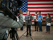 "31 OCTOBER 2019 - DES MOINES, IOWA: Iowa State Senator CLAIRE CELSI speaks in support of the Affordable Care Act. A small crowd of people came to the Neil Smith Federal Building, where US Senators Chuck Grassley's (R-IA) and Joni Ernst's (R-IA) offices are, to deliver a petition protesting the Senate's vote that critics say would allow ""spooky junk health insurance plans"" with limited coverage and would allow insurance companies to deny coverage to people with pre-existing conditions.           PHOTO BY JACK KURTZ"