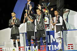 May 19, 2019 - Turin, Turin, Italy - Wojciech Szczesny, Carlo Pinsoglio, Mattia Perin, Alex Sandro of Juventus FC celebrates the trophy of Scudetto  2018-2019 at Allianz Stadium, Turin  (Credit Image: © Antonio Polia/Pacific Press via ZUMA Wire)