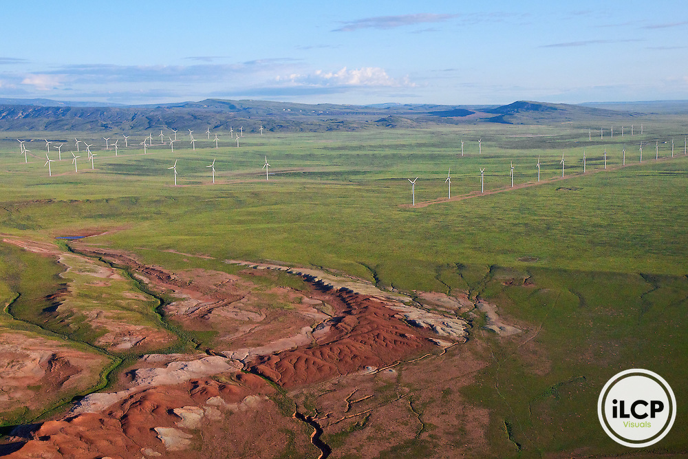 A new wind farm fragments open country in Wyoming's Shirley Basin. Carbon County, Wyoming. LightHawk flight with pilot Mike Conway over south-central Wyoming wind farms and landscapes on June 14, 2011. iLCP Tripods in the Sky Wyoming Wind Development.