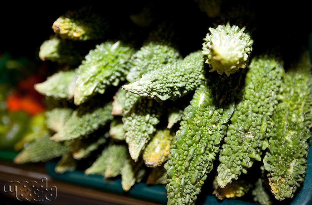 Close-up of fresh goyas in supermarket