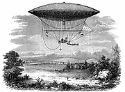 Henri Giffard's (1825-1882) steam-powered steerable (dirigible) airship during its ascent of 25 September 1852: cigar shaped gasbag. From Louis Figuier 'Les Merveilles de la Science' (Paris, c1870).