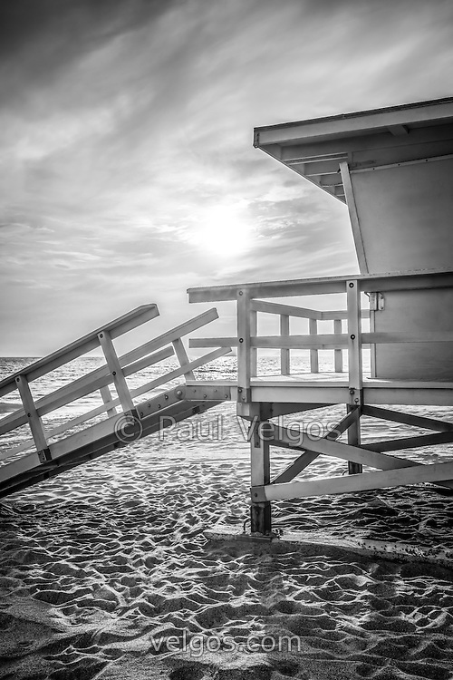 Malibu lifeguard tower #3 black and white photo of Zuma Beach in Malibu California. Photo is high resolution.