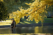 Couple by the lake in the Public Garden in Boston, Massachusetts, USA