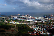 Aerial view of France Field storage area of Colon Free Zone. Colon province, Panama, Caribbean, Central America.