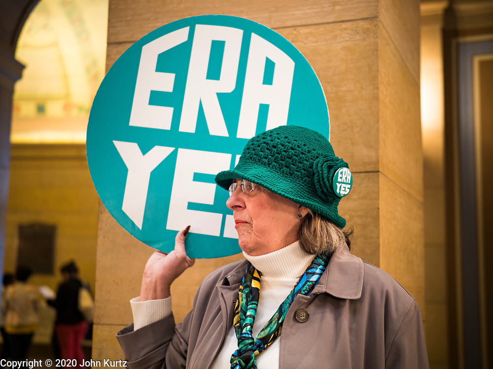 05 MARCH 2020 - ST. PAUL, MINNESOTA: C. MEYER, from Spring Lake Park, MN, joins a rally to support the ERA in the rotunda at the Minnesota State Capitol. About 75 people, mostly women, came to the capitol to support ratification of the Equal Rights Amendment and mark the local observance of International Women's Day. International Women's Day is celebrated on March 8 around the world.   PHOTO BY JACK KURTZ