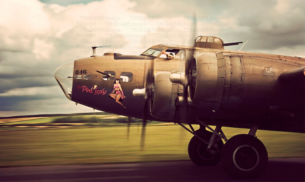 A  B-17G Flying Fortress bomber on takeoff.