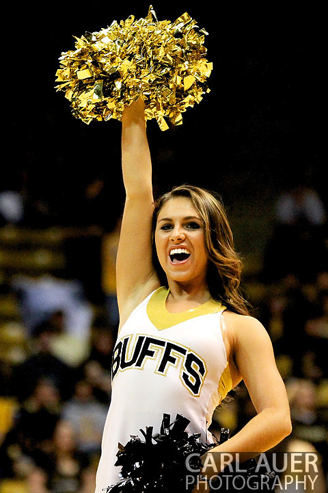 December 29, 2012: A Colorado cheerleader during a time out of the NCAA Basketball game between the University of Hartford Hawks and the Colorado Buffaloes at the Coors Event Center in Boulder Colorado