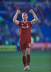 CARDIFF, WALES - Saturday, April 20, 2019: Liverpool's captain Jordan Henderson celebrates after the 2-0 victory during the FA Premier League match between Cardiff City FC and Liverpool FC at the Cardiff City Stadium. (Pic by David Rawcliffe/Propaganda)