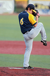 23 August 2014:  Rusty Shellhorn during a Frontier League Baseball game between the Traverse City Beach Bums at Normal CornBelters at Corn Crib Stadium on the campus of Heartland Community College in Normal Illinois