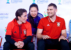 NANNING, CHINA - Saturday, March 24, 2018: Wales' Harry Wilson and Sam Vokes during a meet & greet event at the Nanning Wanda Mall during the 2018 Gree China Cup International Football Championship. (Pic by David Rawcliffe/Propaganda)