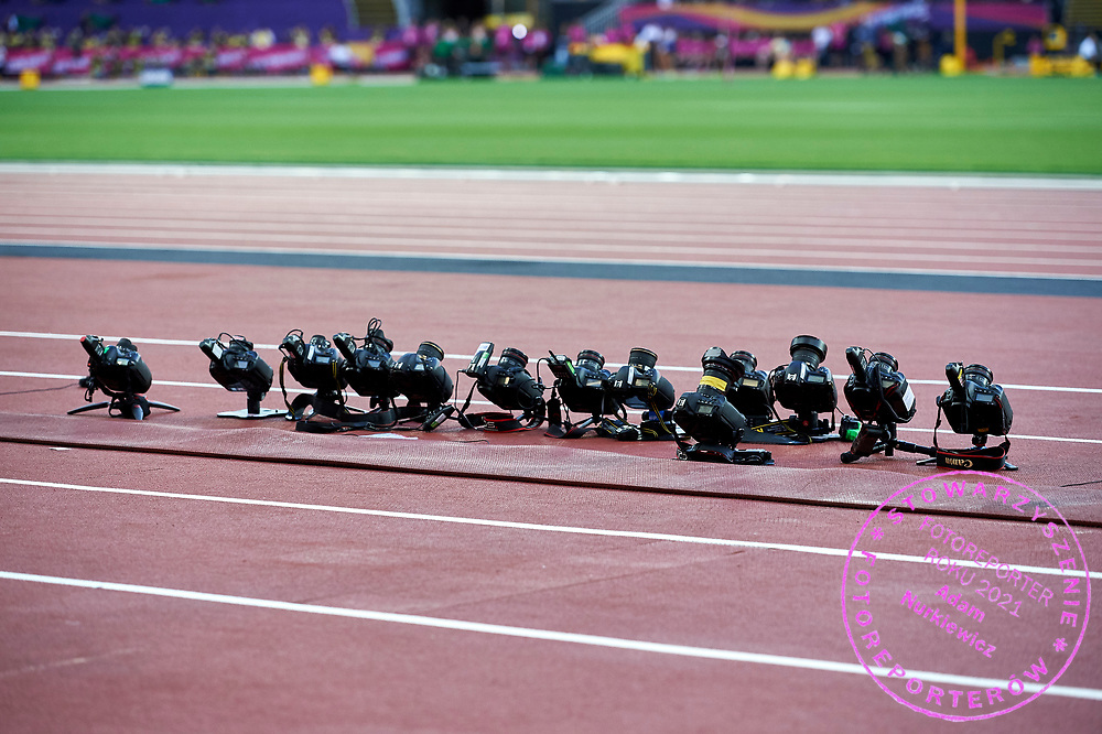 Great Britain, London - 2017 August 10: Remote cameras work on triple jump track during IAAF World Championships London 2017 Day 7 at London Stadium on August 10, 2017 in London, Great Britain.<br /> <br /> Mandatory credit:<br /> Photo by &copy; Adam Nurkiewicz<br /> <br /> Adam Nurkiewicz declares that he has no rights to the image of people at the photographs of his authorship.<br /> <br /> Picture also available in RAW (NEF) or TIFF format on special request.<br /> <br /> Any editorial, commercial or promotional use requires written permission from the author of image.