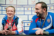 Tima Turieva from Russia with gold medal in total competition woman's 63 kg Group A while press conference during weightlifting IWF World Championships Wroclaw 2013 at Centennial Hall in Wroclaw on October 23, 2013.<br /> <br /> Poland, Wroclaw, October 23, 2013<br /> <br /> Picture also available in RAW (NEF) or TIFF format on special request.<br /> <br /> For editorial use only. Any commercial or promotional use requires permission.<br /> <br /> Mandatory credit:<br /> Photo by &copy; Adam Nurkiewicz / Mediasport