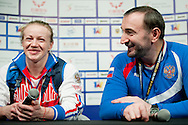 Tima Turieva from Russia with gold medal in total competition woman's 63 kg Group A while press conference during weightlifting IWF World Championships Wroclaw 2013 at Centennial Hall in Wroclaw on October 23, 2013.<br /> <br /> Poland, Wroclaw, October 23, 2013<br /> <br /> Picture also available in RAW (NEF) or TIFF format on special request.<br /> <br /> For editorial use only. Any commercial or promotional use requires permission.<br /> <br /> Mandatory credit:<br /> Photo by © Adam Nurkiewicz / Mediasport