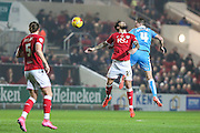 Wolverhampton Wanderers David Edwards & Bristol City's Marlon Pack challenge for a header during the Sky Bet Championship match between Bristol City and Wolverhampton Wanderers at Ashton Gate, Bristol, England on 3 November 2015. Photo by Shane Healey.
