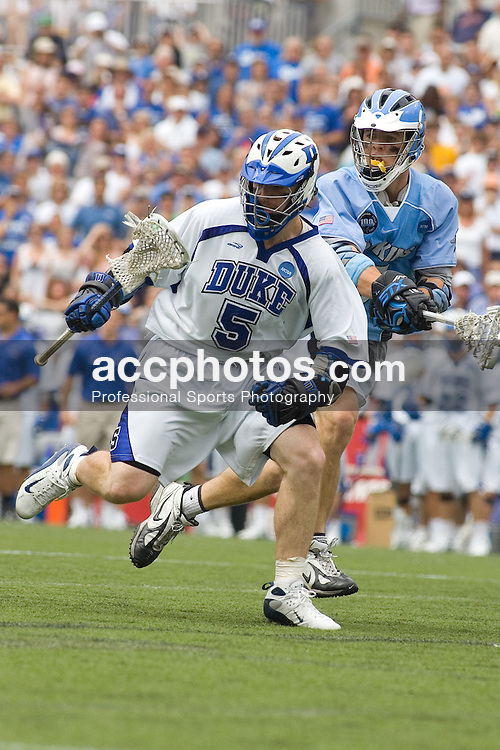 28 May 2007: Duke Blue Devils midfielder Peter Lamade (5) in a 11-12 loss to the Johns Hopkins Blue Jays at M&T Bank Stadium during the NCAA finals in Baltimore, MD.