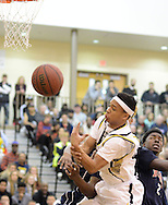 Bordertown's Dante Gipson #10 loses a rebound as Willingboro's Chris Slocombe #2 stands by in the second quarter of the Willingboro vs Bordentown Central Jersey Group 3 boys basketball semifinal at Bordertown High School Saturday March 5, 2016 in Bordentown, New Jersey.  (Photo by William Thomas Cain)