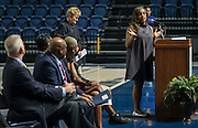 Houston ISD Trustee Rhonda Skillern-Jones comments during a grand opening ceremony at Delmar Fieldhouse, February 10, 2017.